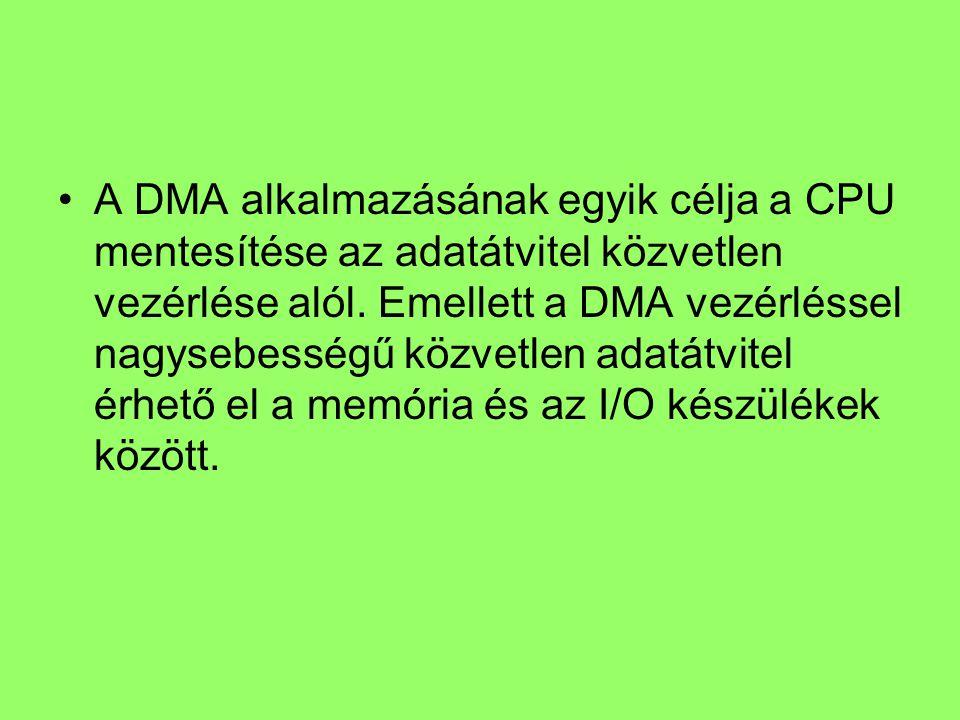 A DMA alkalmazásának egyik célja a CPU mentesítése az adatátvitel közvetlen vezérlése alól.