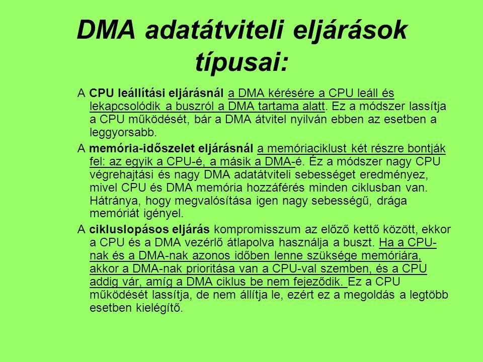 DMA adatátviteli eljárások típusai: A CPU leállítási eljárásnál a DMA kérésére a CPU leáll és lekapcsolódik a buszról a DMA tartama alatt.