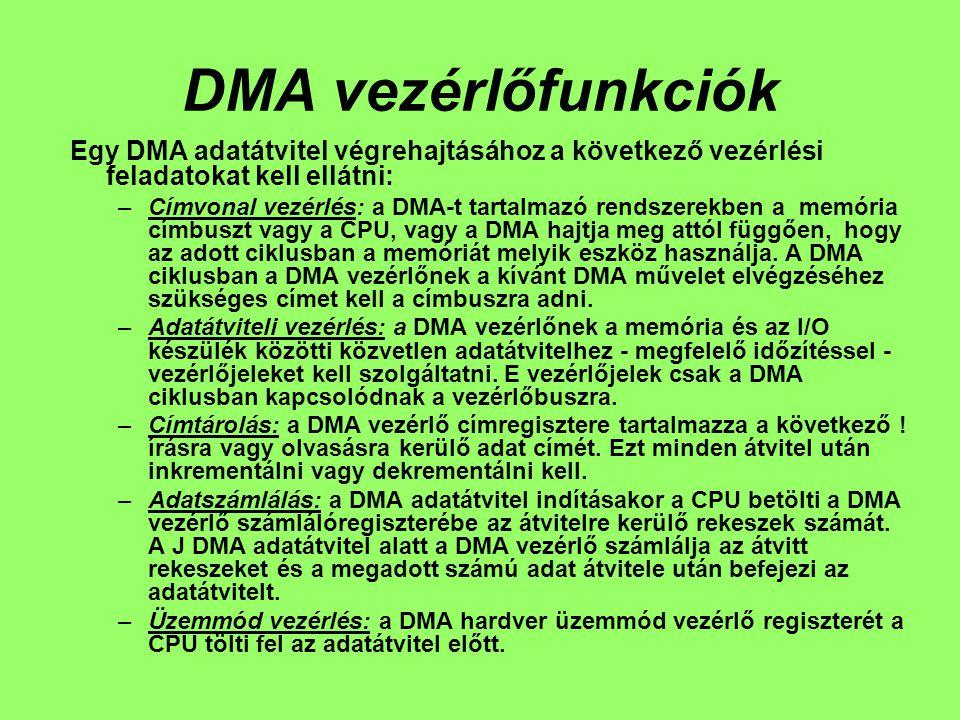DMA vezérlőfunkciók Egy DMA adatátvitel végrehajtásához a következő vezérlési feladatokat kell ellátni: –Címvonal vezérlés: a DMA-t tartalmazó rendszerekben a memória címbuszt vagy a CPU, vagy a DMA hajtja meg attól függően, hogy az adott ciklusban a memóriát melyik eszköz használja.
