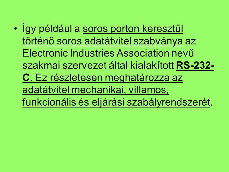 Így például a soros porton keresztül történő soros adatátvitel szabványa az Electronic Industries Association nevű szakmai szervezet által kialakított RS-232- C.