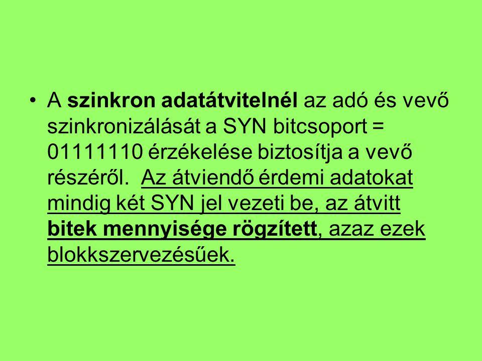 A szinkron adatátvitelnél az adó és vevő szinkronizálását a SYN bitcsoport = 01111110 érzékelése biztosítja a vevő részéről. Az átviendő érdemi adatok