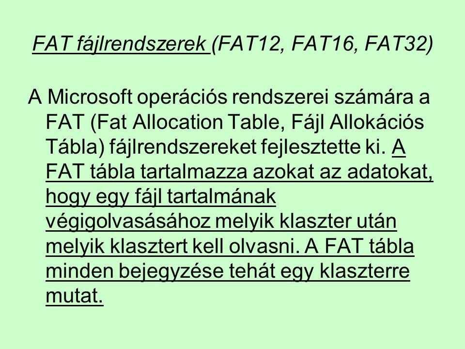FAT fájlrendszerek (FAT12, FAT16, FAT32) A Microsoft operációs rendszerei számára a FAT (Fat Allocation Table, Fájl Allokációs Tábla) fájlrendszereket