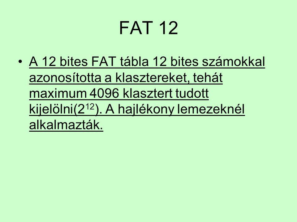 FAT 12 A 12 bites FAT tábla 12 bites számokkal azonosította a klasztereket, tehát maximum 4096 klasztert tudott kijelölni(2 12 ). A hajlékony lemezekn