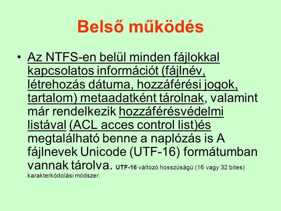 Belső működés Az NTFS-en belül minden fájlokkal kapcsolatos információt (fájlnév, létrehozás dátuma, hozzáférési jogok, tartalom) metaadatként tárolna