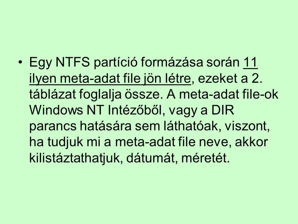 Egy NTFS partíció formázása során 11 ilyen meta-adat file jön létre, ezeket a 2. táblázat foglalja össze. A meta-adat file-ok Windows NT Intézőből, va