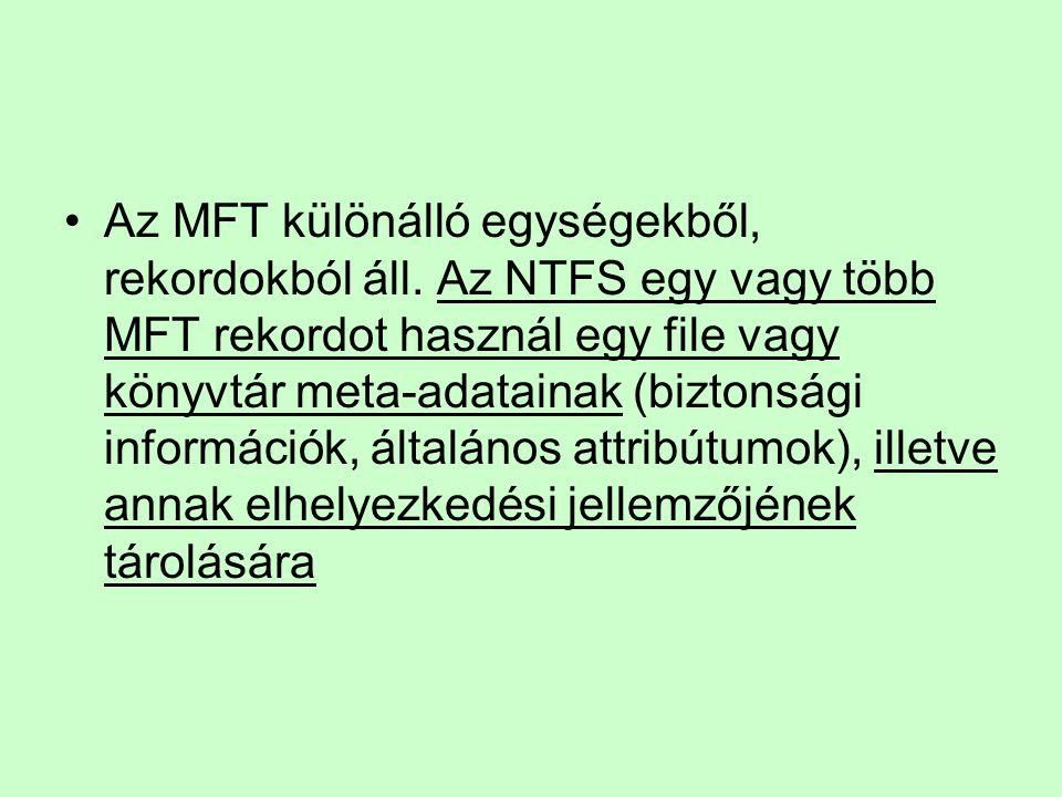 Az MFT különálló egységekből, rekordokból áll. Az NTFS egy vagy több MFT rekordot használ egy file vagy könyvtár meta-adatainak (biztonsági információ