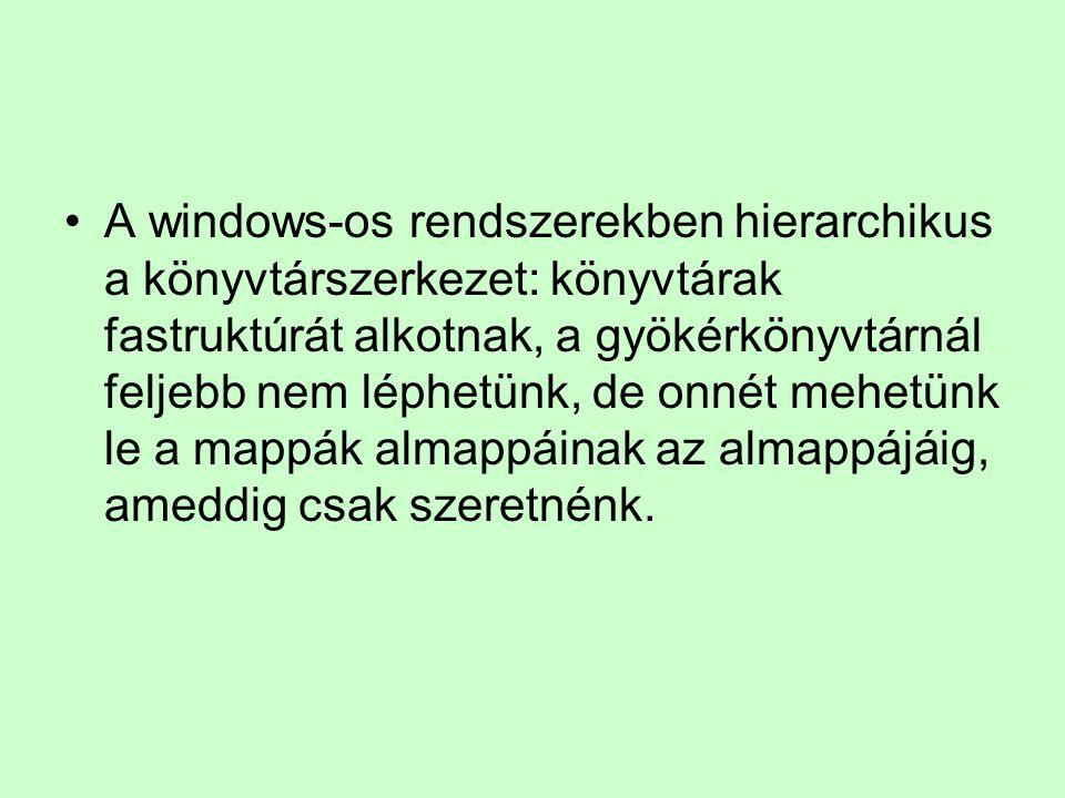 A windows-os rendszerekben hierarchikus a könyvtárszerkezet: könyvtárak fastruktúrát alkotnak, a gyökérkönyvtárnál feljebb nem léphetünk, de onnét meh