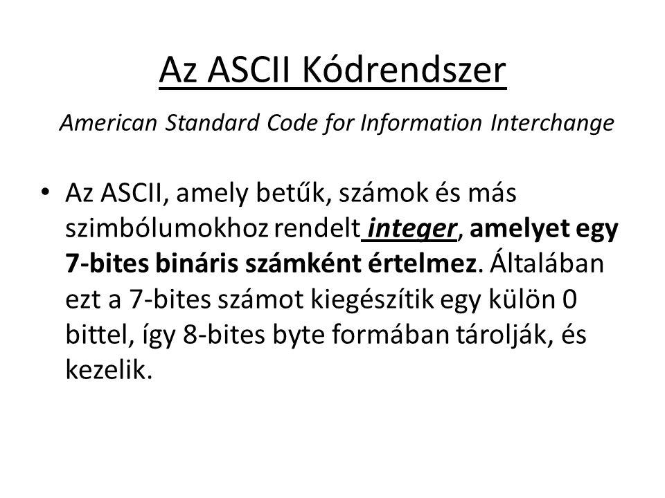 Az ASCII Kódrendszer American Standard Code for Information Interchange Az ASCII, amely betűk, számok és más szimbólumokhoz rendelt integer, amelyet e