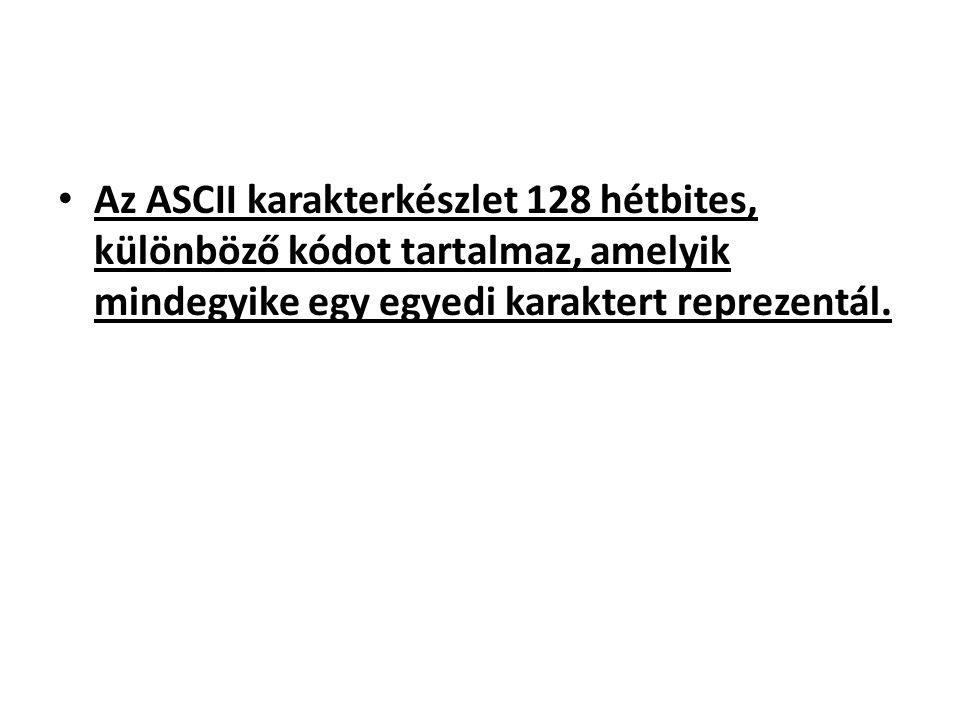 Az ASCII karakterkészlet 128 hétbites, különböző kódot tartalmaz, amelyik mindegyike egy egyedi karaktert reprezentál.