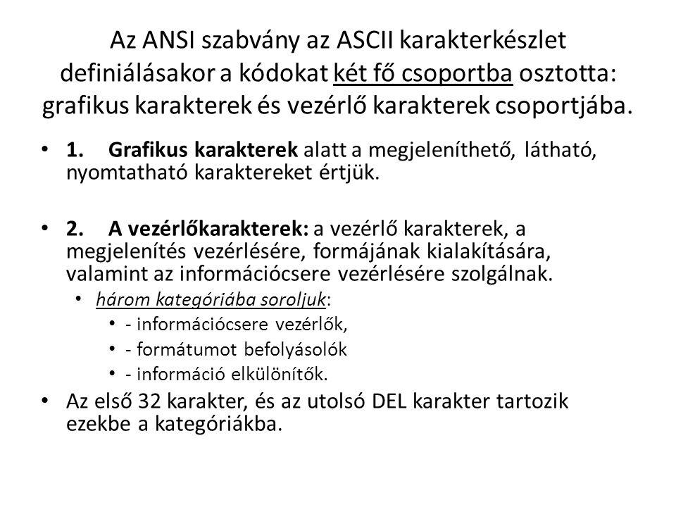 Az ANSI szabvány az ASCII karakterkészlet definiálásakor a kódokat két fő csoportba osztotta: grafikus karakterek és vezérlő karakterek csoportjába. 1