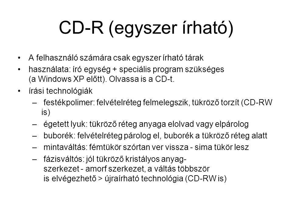 CD-R (egyszer írható) A felhasználó számára csak egyszer írható tárak használata: író egység + speciális program szükséges (a Windows XP előtt). Olvas