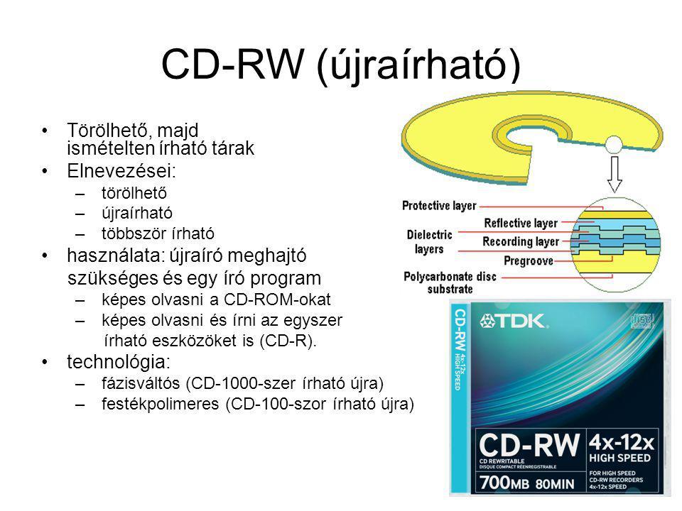 CD-RW (újraírható) Törölhető, majd ismételten írható tárak Elnevezései: – törölhető – újraírható – többször írható használata: újraíró meghajtó szüksé