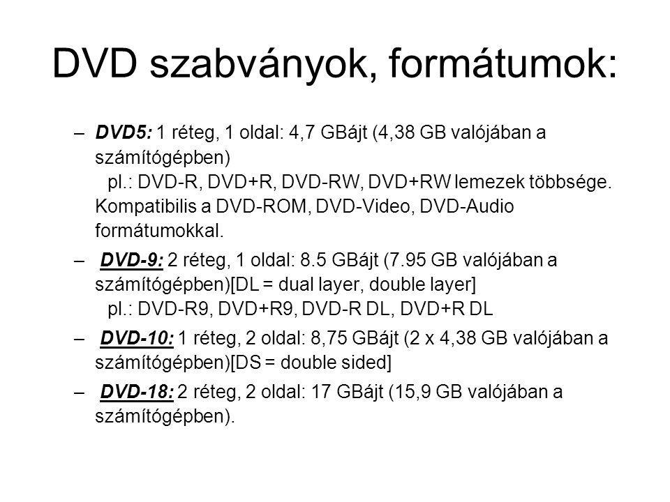 DVD szabványok, formátumok: –DVD5: 1 réteg, 1 oldal: 4,7 GBájt (4,38 GB valójában a számítógépben) pl.: DVD-R, DVD+R, DVD-RW, DVD+RW lemezek többsége.