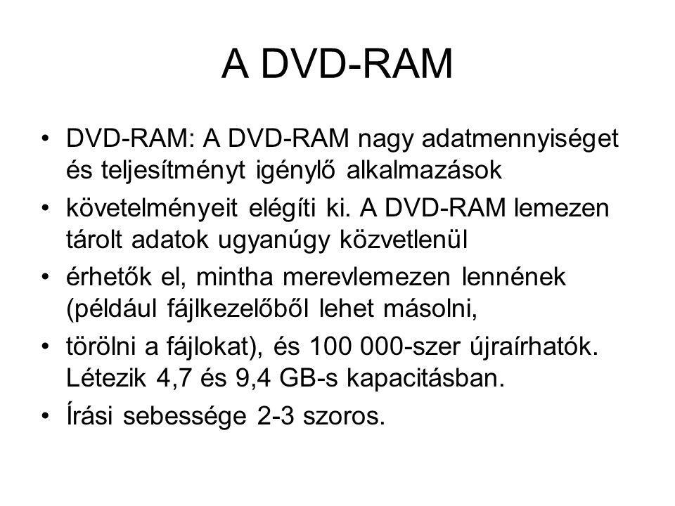 A DVD-RAM DVD-RAM: A DVD-RAM nagy adatmennyiséget és teljesítményt igénylő alkalmazások követelményeit elégíti ki. A DVD-RAM lemezen tárolt adatok ugy