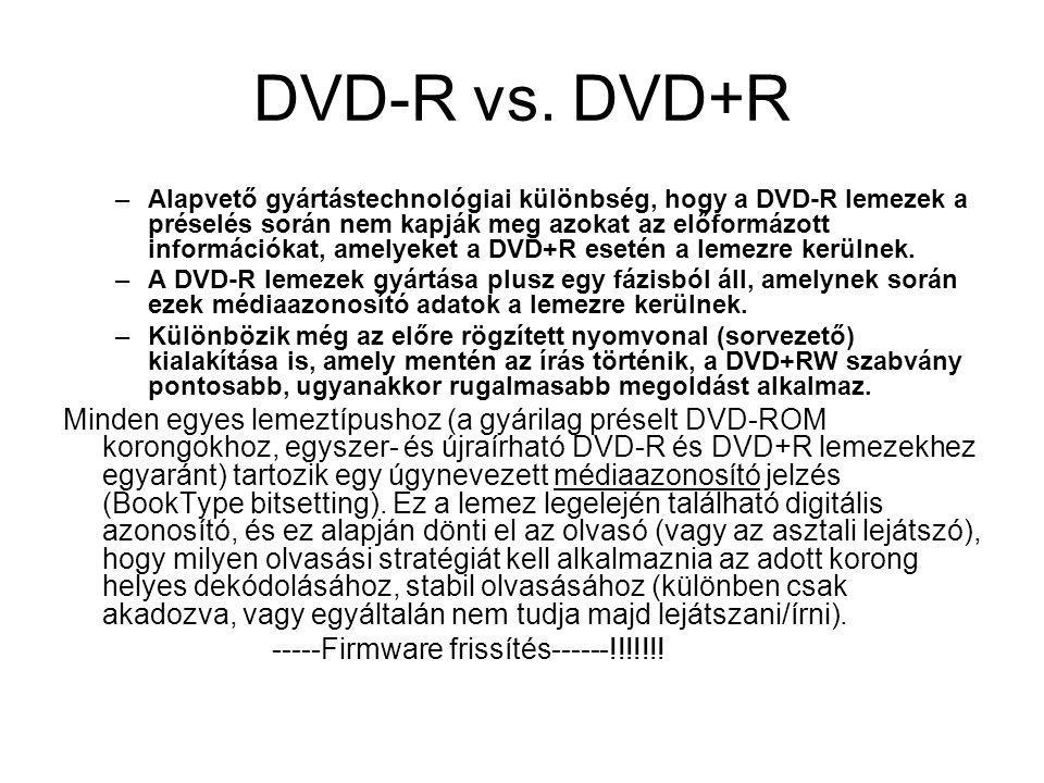 DVD-R vs. DVD+R –Alapvető gyártástechnológiai különbség, hogy a DVD-R lemezek a préselés során nem kapják meg azokat az előformázott információkat, am