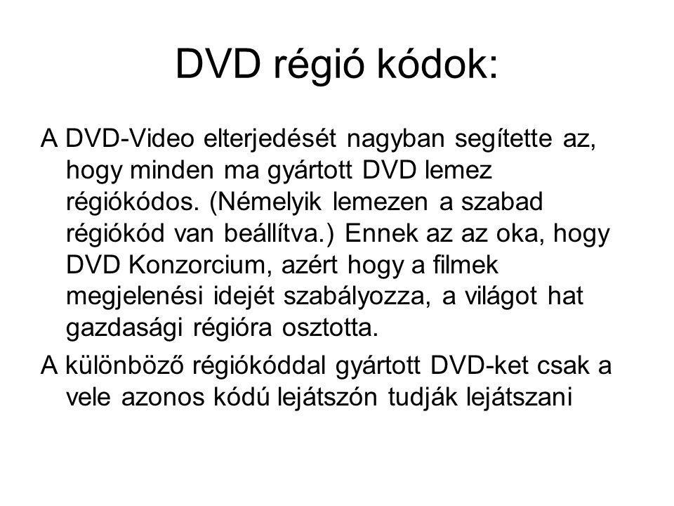 DVD régió kódok: A DVD-Video elterjedését nagyban segítette az, hogy minden ma gyártott DVD lemez régiókódos. (Némelyik lemezen a szabad régiókód van