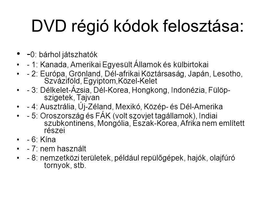 DVD régió kódok felosztása: - 0: bárhol játszhatók - 1: Kanada, Amerikai Egyesült Államok és külbirtokai - 2: Európa, Grönland, Dél-afrikai Köztársasá