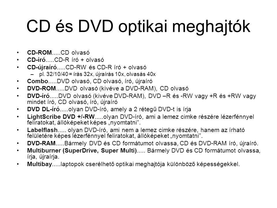 CD és DVD optikai meghajtók CD-ROM.....CD olvasó CD-író.....CD-R író + olvasó CD-újraíró.....CD-RW és CD-R író + olvasó –pl. 32/10/40 = írás 32x, újra