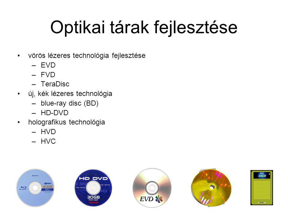 Optikai tárak fejlesztése vörös lézeres technológia fejlesztése –EVD –FVD –TeraDisc új, kék lézeres technológia –blue-ray disc (BD) –HD-DVD holografik