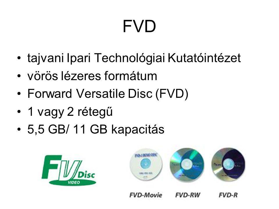 FVD tajvani Ipari Technológiai Kutatóintézet vörös lézeres formátum Forward Versatile Disc (FVD) 1 vagy 2 rétegű 5,5 GB/ 11 GB kapacitás