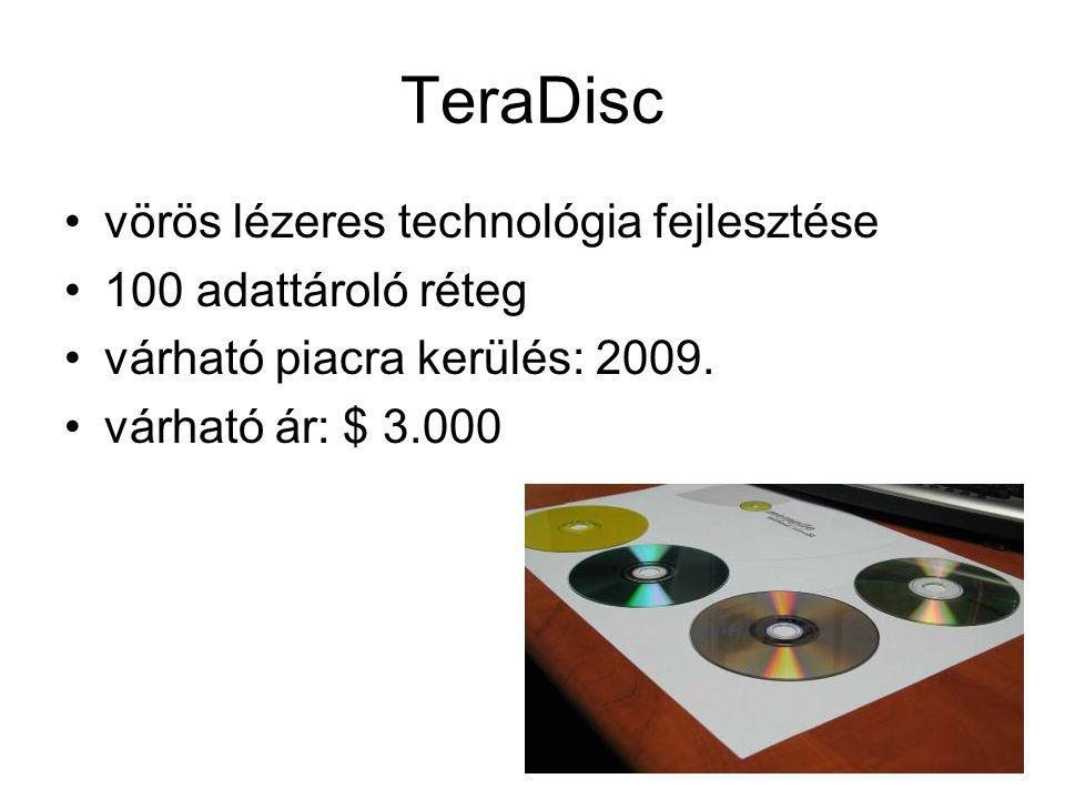 TeraDisc vörös lézeres technológia fejlesztése 100 adattároló réteg várható piacra kerülés: 2009. várható ár: $ 3.000