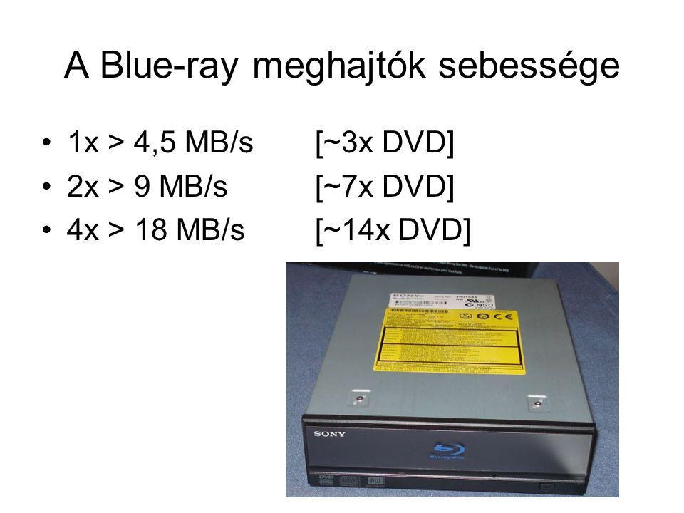 A Blue-ray meghajtók sebessége 1x > 4,5 MB/s[~3x DVD] 2x > 9 MB/s[~7x DVD] 4x > 18 MB/s[~14x DVD]