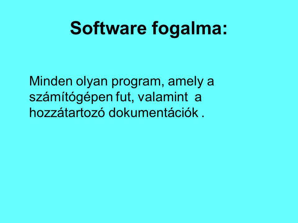 Software fogalma: Minden olyan program, amely a számítógépen fut, valamint a hozzátartozó dokumentációk.
