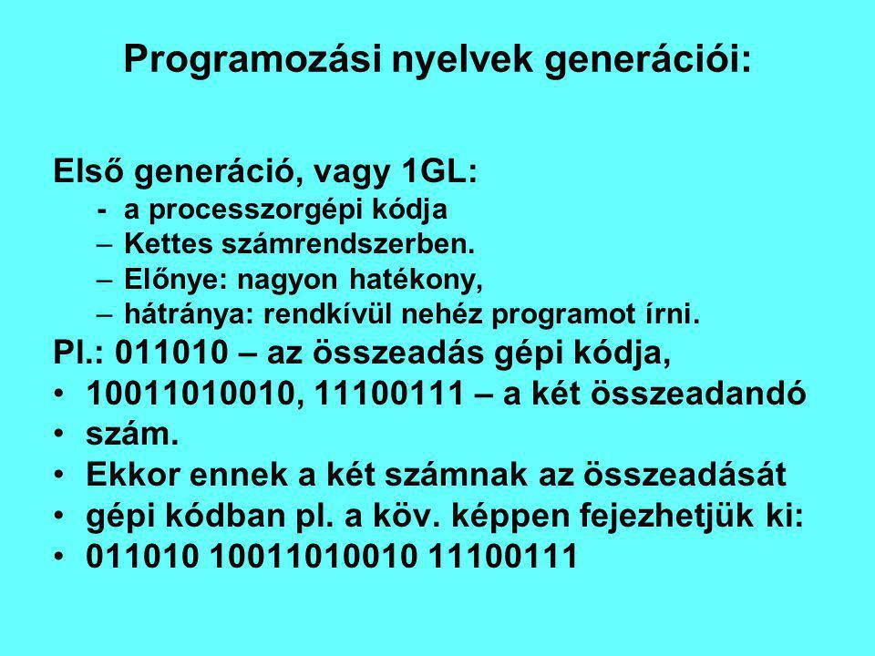 Programozási nyelvek generációi: Első generáció, vagy 1GL: -a processzorgépi kódja –Kettes számrendszerben.