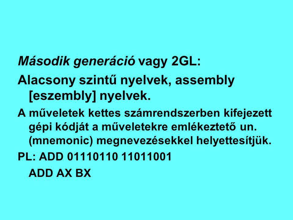 Harmadik generáció vagy 3GL Magas szintű nyelvek: Az emberi nyelvhez, az ember gondolkodásmódjához közelebb állnak mint a gép logikájához.