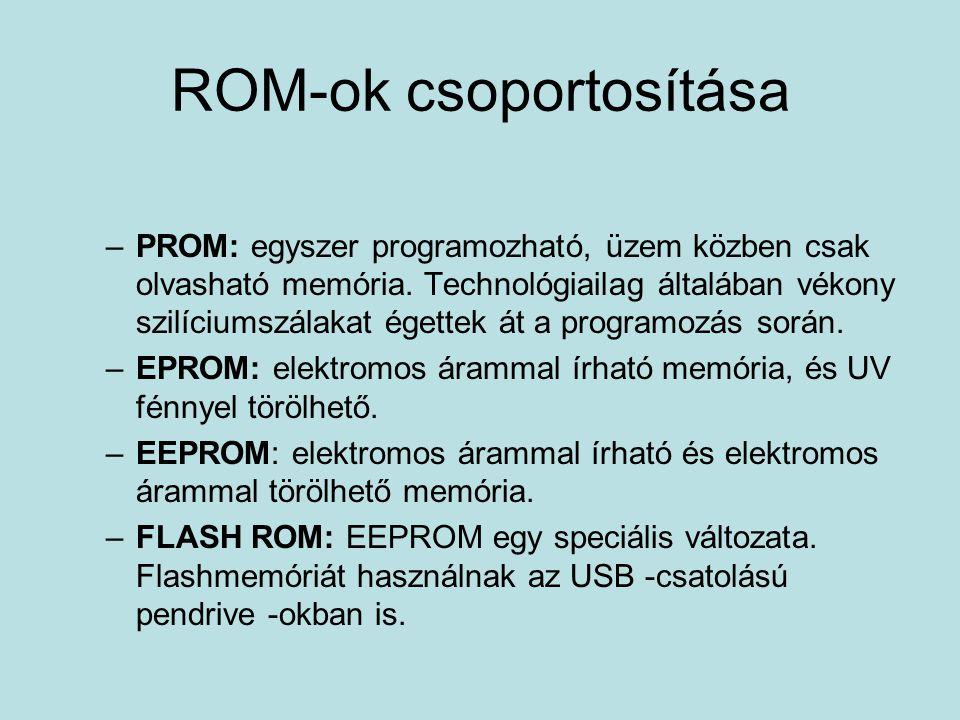 ROM-ok csoportosítása –PROM: egyszer programozható, üzem közben csak olvasható memória.