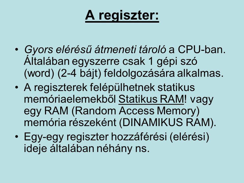 A regiszter: Gyors elérésű átmeneti tároló a CPU-ban.
