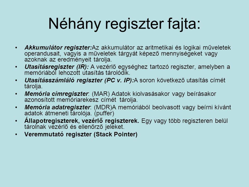 Néhány regiszter fajta: Akkumulátor regiszter:Az akkumulátor az aritmetikai és logikai műveletek operandusait, vagyis a műveletek tárgyát képező mennyiségeket vagy azoknak az eredményeit tárolja.