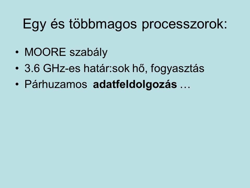 Egy és többmagos processzorok: MOORE szabály 3.6 GHz-es határ:sok hő, fogyasztás Párhuzamos adatfeldolgozás …