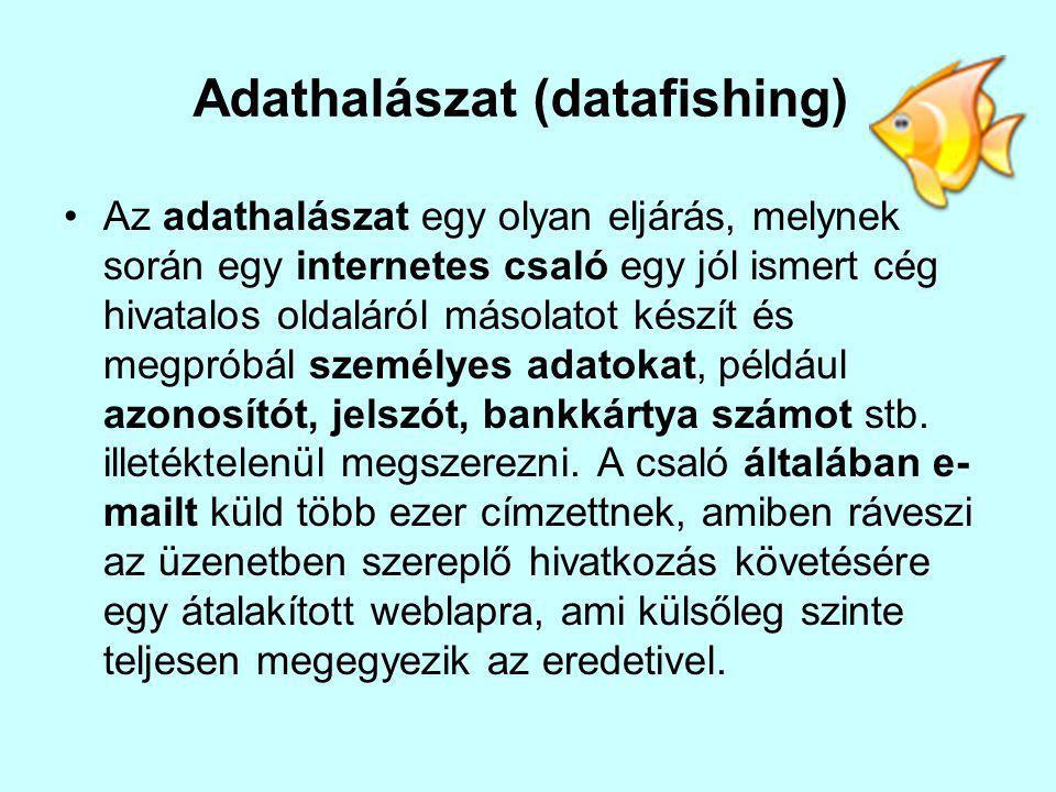 Adathalászat (datafishing) Az adathalászat egy olyan eljárás, melynek során egy internetes csaló egy jól ismert cég hivatalos oldaláról másolatot készít és megpróbál személyes adatokat, például azonosítót, jelszót, bankkártya számot stb.