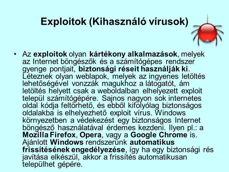 Exploitok (Kihasználó vírusok) Az exploitok olyan kártékony alkalmazások, melyek az Internet böngészők és a számítógépes rendszer gyenge pontjait, biztonsági réseit használják ki.