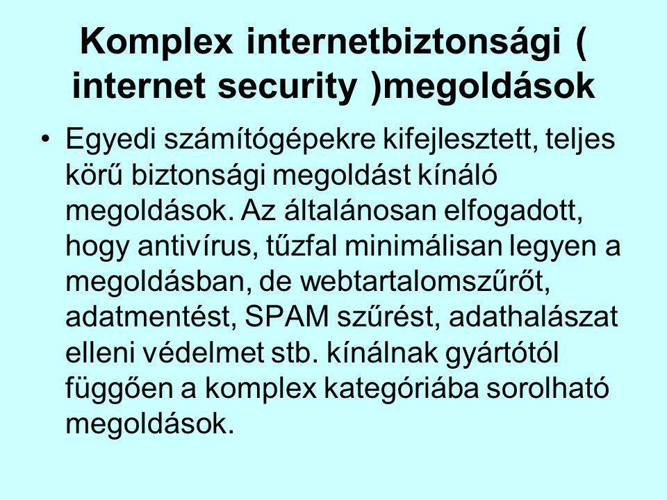 Komplex internetbiztonsági ( internet security )megoldások Egyedi számítógépekre kifejlesztett, teljes körű biztonsági megoldást kínáló megoldások.