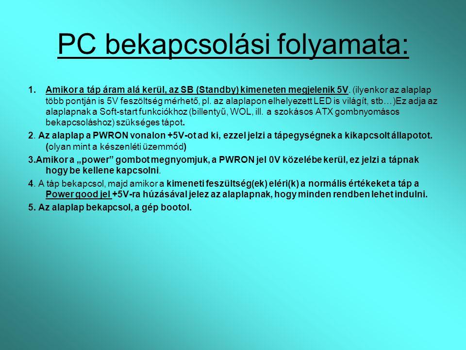 PC bekapcsolási folyamata: 1.Amikor a táp áram alá kerül, az SB (Standby) kimeneten megjelenik 5V. (ilyenkor az alaplap több pontján is 5V feszöltség