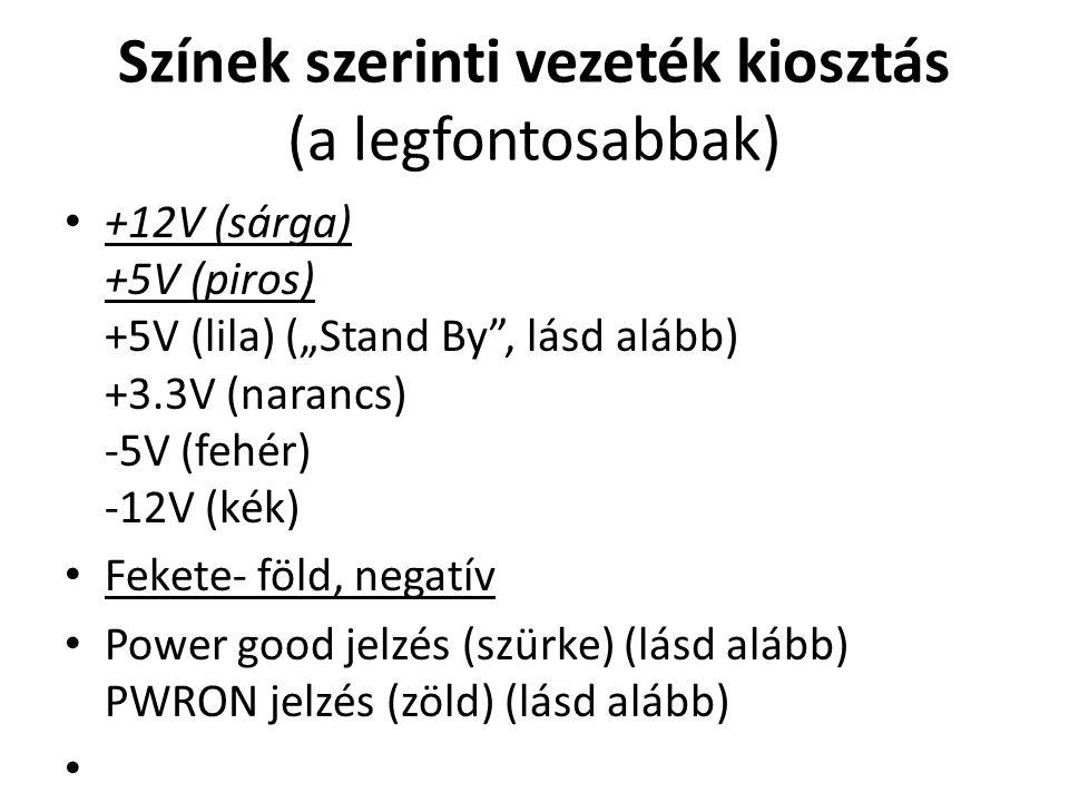 """Színek szerinti vezeték kiosztás (a legfontosabbak) +12V (sárga) +5V (piros) +5V (lila) (""""Stand By"""", lásd alább) +3.3V (narancs) -5V (fehér) -12V (kék"""