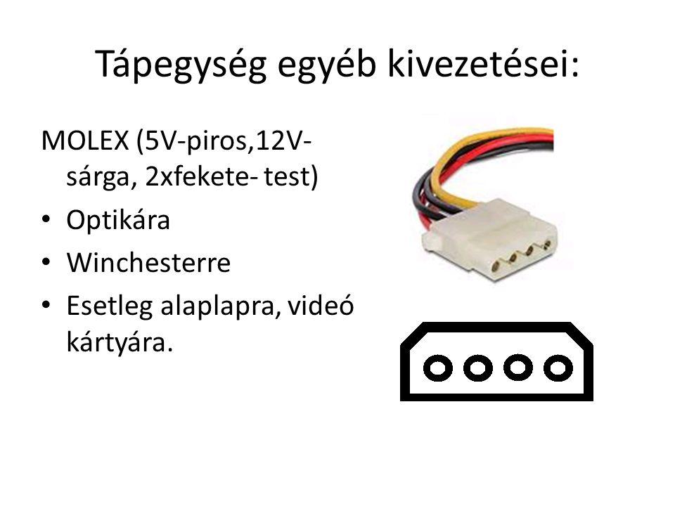Tápegység egyéb kivezetései: MOLEX (5V-piros,12V- sárga, 2xfekete- test) Optikára Winchesterre Esetleg alaplapra, videó kártyára.