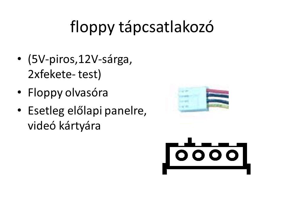 floppy tápcsatlakozó (5V-piros,12V-sárga, 2xfekete- test) Floppy olvasóra Esetleg előlapi panelre, videó kártyára