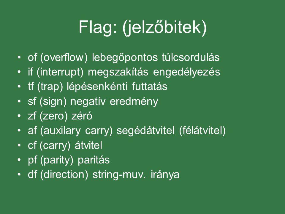 Flag: (jelzőbitek) of (overflow) lebegőpontos túlcsordulás if (interrupt) megszakítás engedélyezés tf (trap) lépésenkénti futtatás sf (sign) negatív eredmény zf (zero) zéró af (auxilary carry) segédátvitel (félátvitel) cf (carry) átvitel pf (parity) paritás df (direction) string-muv.