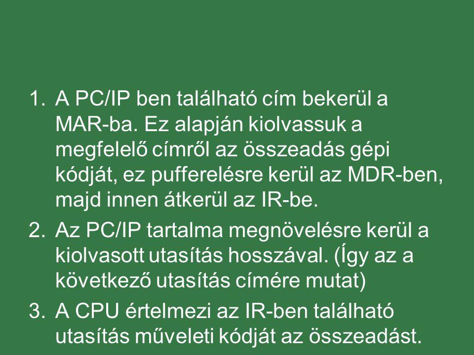 1.A PC/IP ben található cím bekerül a MAR-ba.