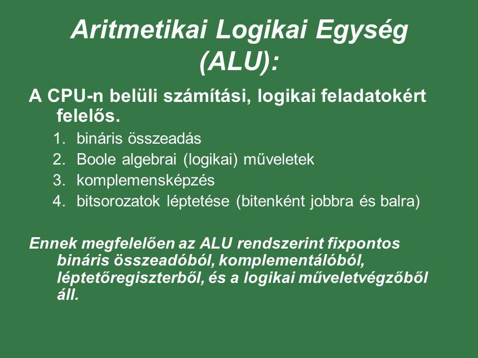 Aritmetikai Logikai Egység (ALU): A CPU-n belüli számítási, logikai feladatokért felelős. 1.bináris összeadás 2.Boole algebrai (logikai) műveletek 3.k