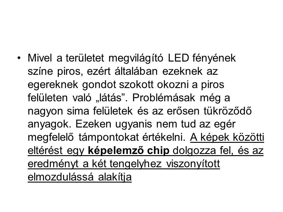 """Mivel a területet megvilágító LED fényének színe piros, ezért általában ezeknek az egereknek gondot szokott okozni a piros felületen való """"látás"""". Pro"""