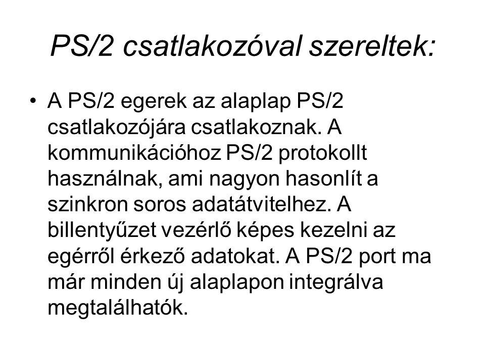 PS/2 csatlakozóval szereltek: A PS/2 egerek az alaplap PS/2 csatlakozójára csatlakoznak. A kommunikációhoz PS/2 protokollt használnak, ami nagyon haso