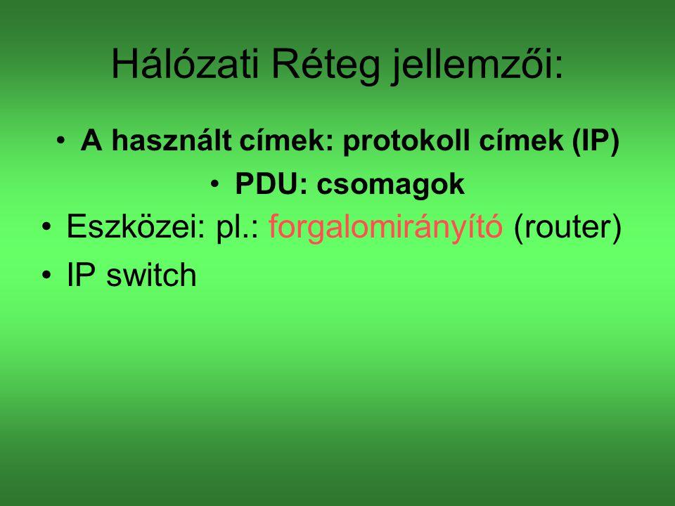 Hálózati Réteg jellemzői: A használt címek: protokoll címek (IP) PDU: csomagok Eszközei: pl.: forgalomirányító (router) IP switch