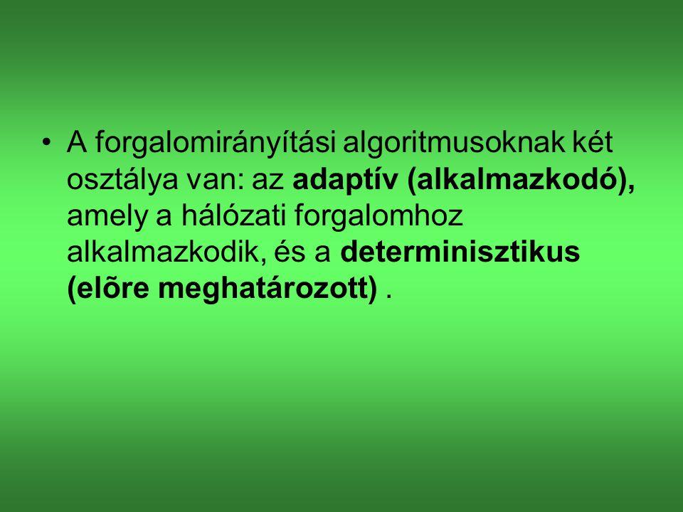 A forgalomirányítási algoritmusoknak két osztálya van: az adaptív (alkalmazkodó), amely a hálózati forgalomhoz alkalmazkodik, és a determinisztikus (elõre meghatározott).