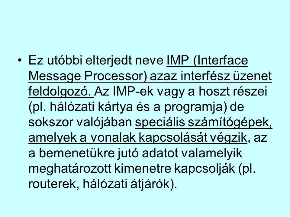 Ez utóbbi elterjedt neve IMP (Interface Message Processor) azaz interfész üzenet feldolgozó. Az IMP-ek vagy a hoszt részei (pl. hálózati kártya és a p