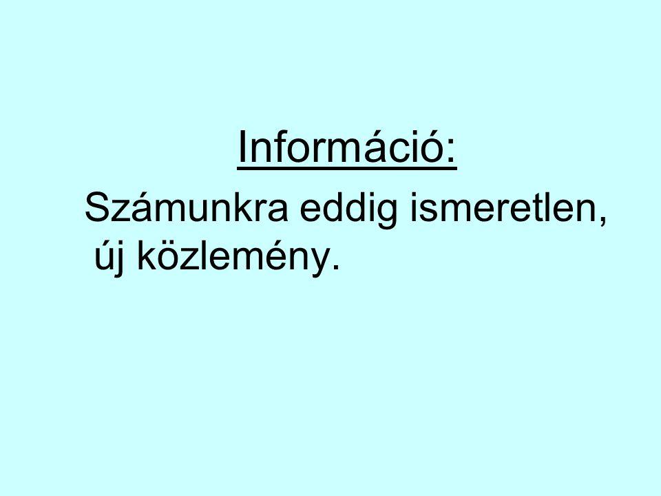 Adat: Olyan információ amit valamennyi ideig valamilyen formában tárolunk.
