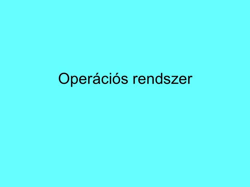 A kernel feladatai: Ki- és bemeneti eszközök kezelése (billentyűzet, képernyő stb.) Memória-hozzáférés biztosítása Processzor idejének elosztása Háttértárolók kezelése Fájlrendszerek kezelése